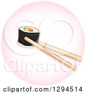 Clipart Of Chopsticks Holding A Piece Of Sushi Makizushi Roll In A Pink Circle Royalty Free Vector Illustration by BNP Design Studio