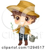 Happy Brunette White Boy Wearing A Sun Hat And Gardening With A Watering Can