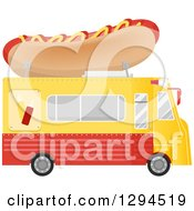 Clipart Of A Side View Of A Yellow And Red Food Truck With A Hot Dog On The Roof Royalty Free Vector Illustration by BNP Design Studio