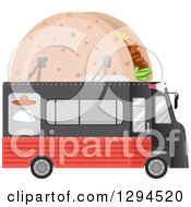 Clipart Of A Black And Red Food Truck With A Taco On The Roof Royalty Free Vector Illustration by BNP Design Studio