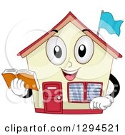 Clipart Of A Happy School House Building Holding A Book Royalty Free Vector Illustration