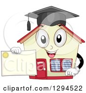 Clipart Of A Happy School House Building Holding A Graduation Certificate Royalty Free Vector Illustration