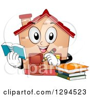 Clipart Of A Happy Home Schooling House Character Holding A Notebook And Pencil Royalty Free Vector Illustration