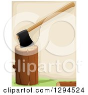 Clipart Of A Background Of An Axe In A Log Royalty Free Vector Illustration