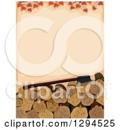Clipart Of A Background Of Autumn Leaves Over An Axe And Firewood Royalty Free Vector Illustration