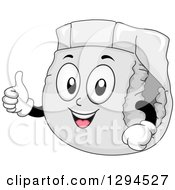 Clipart Of A Happy Cartoon Diaper Character Giving A Thumb Up Royalty Free Vector Illustration by BNP Design Studio