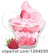 Clipart Of A Bowl Of Strawberries And Soft Serv Ice Cream Royalty Free Vector Illustration by BNP Design Studio