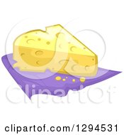 Clipart Of A Wedge Of Swiss Cheese On A Purple Napkin Royalty Free Vector Illustration by BNP Design Studio