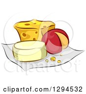 Clipart Of Assorted Cheeses On A Cloth Royalty Free Vector Illustration