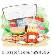 Cheeseburger French Fries And Soda Fast Food Meal With A Blank Sign And Building