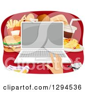 Clipart Of A Caucasian Hand Ordering Fast Food On A Laptop Computer Royalty Free Vector Illustration by BNP Design Studio