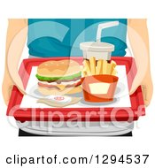 Clipart Of Caucasian Hands Holding A Cheeseburger French Fries And Soda On A Tray Royalty Free Vector Illustration
