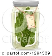 Clipart Of A Jar Of Canned Pickles Royalty Free Vector Illustration