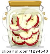 Clipart Of A Jar Of Canned Apples Royalty Free Vector Illustration