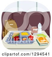Clipart Of A School Cafeteria Tray With A Sandwich By Books On A Table Royalty Free Vector Illustration