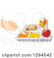 Clipart Of A Hand Schooping Food From A Tray With A Sandwich Royalty Free Vector Illustration