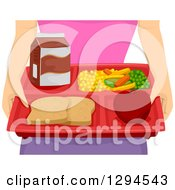 Clipart Of A Caucasian Woman Holding A Tray Of Milk Vggies An Apple And Bread Royalty Free Vector Illustration by BNP Design Studio