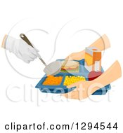 Clipart Of Caucasian Hands Holding A Cafeteria Tray To Receive Food Royalty Free Vector Illustration by BNP Design Studio