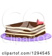 Clipart Of A Piece Of Tiramisu Garnished With A Flower On A Purple Plate Royalty Free Vector Illustration by BNP Design Studio