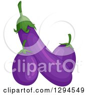 Clipart Of Long And Squat Purple Eggplants Royalty Free Vector Illustration