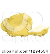 Clipart Of A Slice And Whole Yukon Gold Potato Royalty Free Vector Illustration