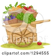 Clipart Of A Woodc Art With Bushels Of Carrot Tomato Eggplant And Lettuce Vegetables Royalty Free Vector Illustration