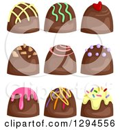 Clipart Of Milk Chocolate Bon Bon Candies With Colorful Toppings Royalty Free Vector Illustration