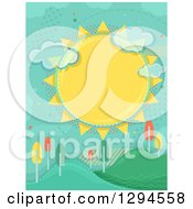 Clipart Of A Large Sun With Clouds And Halftone Over Hills With Colorful Autumn Trees Royalty Free Vector Illustration
