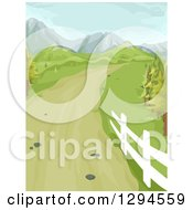 Clipart Of A Country Driveway Road Leading To Hill And Mountains With Spring Green Royalty Free Vector Illustration