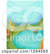 Clipart Of A Pond With A Dock And Autumn Trees Under A Blue Sky Royalty Free Vector Illustration by BNP Design Studio