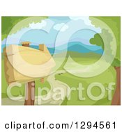 Clipart Of A Wooden Arrow Sign And Path Leading To A Valley In The Spring Time Royalty Free Vector Illustration