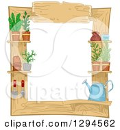 Clipart Of A Wooden Frame With Gardening Tools And Potted Plants Royalty Free Vector Illustration