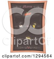 Clipart Of A Black Board Menu With Specialties Royalty Free Vector Illustration