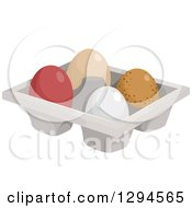 Clipart Of A Tray Of Four Different Chicken Eggs Royalty Free Vector Illustration