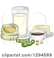 Clipart Of Soy Beans And Products Royalty Free Vector Illustration by BNP Design Studio