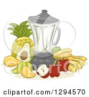 Clipart Of A Sketched Blender And Fruits Royalty Free Vector Illustration