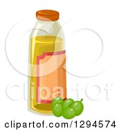 Clipart Of A Bottle Of Olive Oil And Green Olives Royalty Free Vector Illustration by BNP Design Studio