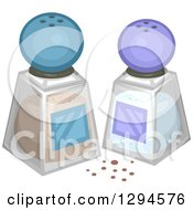 Clipart Of Salt And Pepper Shakers With Blue And Purple Tops Royalty Free Vector Illustration