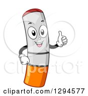 Clipart Of A Cartoon Happy Electronic Cigarette Giving A Thumb Up Royalty Free Vector Illustration by BNP Design Studio