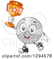 Happy Cartoon Golf Ball Character Holding Up A Trophy