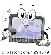 Clipart Of A Cartoon Happy Karaoke Machine Singing Royalty Free Vector Illustration