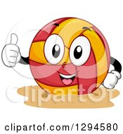 Clipart Of A Cartoon Happy Beach Volleyball Character Giving A Thumb Up Royalty Free Vector Illustration by BNP Design Studio