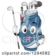 Clipart Of A Cartoon Happy Blue Golf Bag Character Holding A Club Royalty Free Vector Illustration