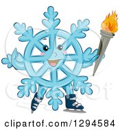 Clipart Of A Happy Blue Winter Snowflake Character Ice Skating With A Torch Royalty Free Vector Illustration by BNP Design Studio