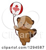 Clipart Of A Cute Happy Beaver Walking With A Canadian Flag Balloon Royalty Free Vector Illustration by BNP Design Studio