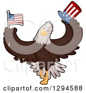 Clipart Of A Cartoon Patriotic Bald Eagle Holding An American Flag And Top Hat Royalty Free Vector Illustration