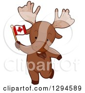Clipart Of A Cartoon Patriotic Moose Holding A Canadian Flag Royalty Free Vector Illustration
