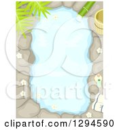Clipart Of An Aerial View Of An Outdoor Bath With Stone And Flowers Royalty Free Vector Illustration by BNP Design Studio