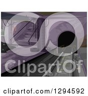 Clipart Of A Dark And Dirty Abandoned Subway Station Interior Royalty Free Vector Illustration