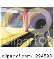 Clipart Of A Train Coming Through A Tunnel In A Subway Station Royalty Free Vector Illustration